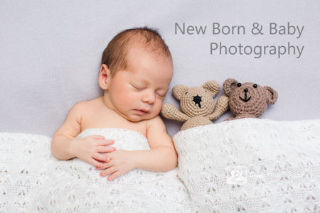 Newborn baby with white blanket teddy bears - crouch end photographer