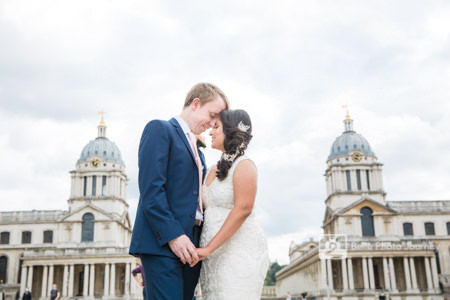 Wedding portrait royal naval college waterfront