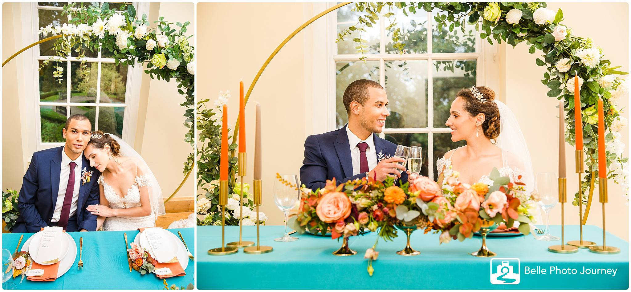 Wedding breakfast couples looking lovingly into each other flower arc bright table cloth