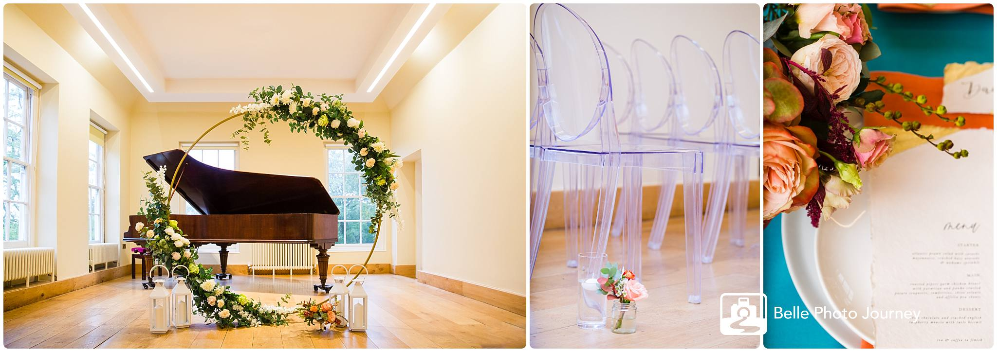 Wedding ceremony setting piano flower arc altar transparent gold chairs