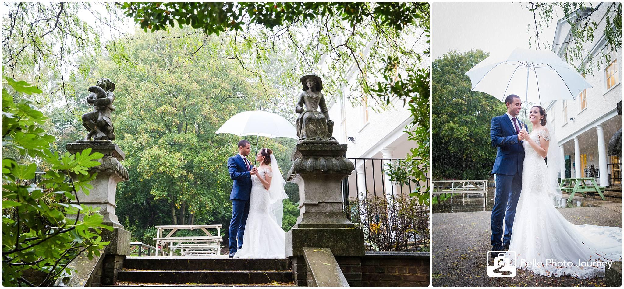 Wedding portrait in the rain private garden london photographer