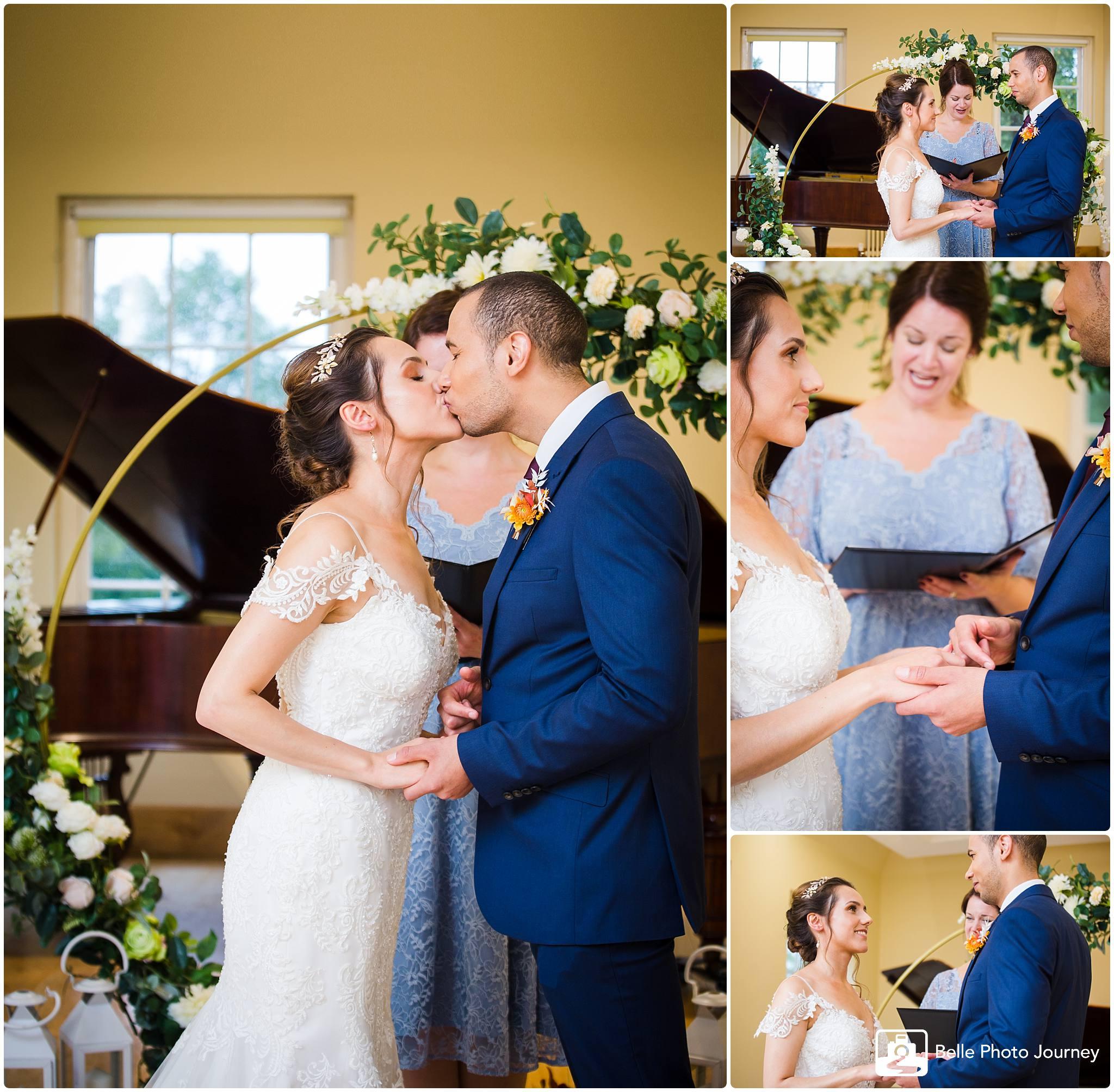 Wedding registration ceremony celebrant flower arc altar arrangement