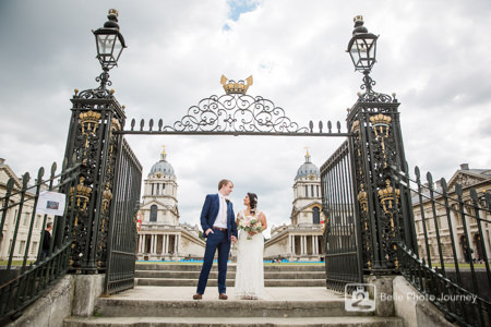 Wedding couple portrait - Royal Naval College, Greenwich London