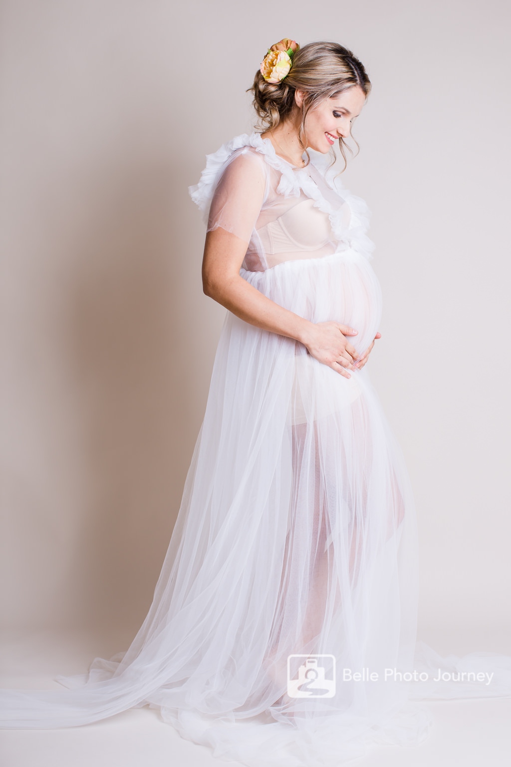 white maternity see through gown romantic floral