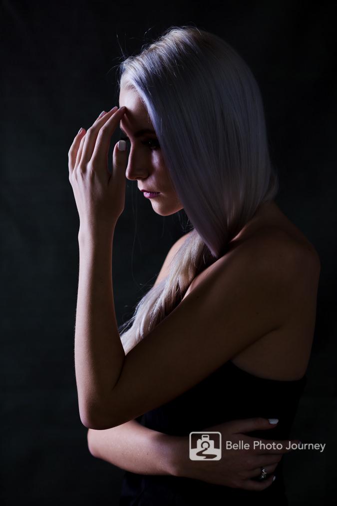 moody fine art female portrait girl platinum hair