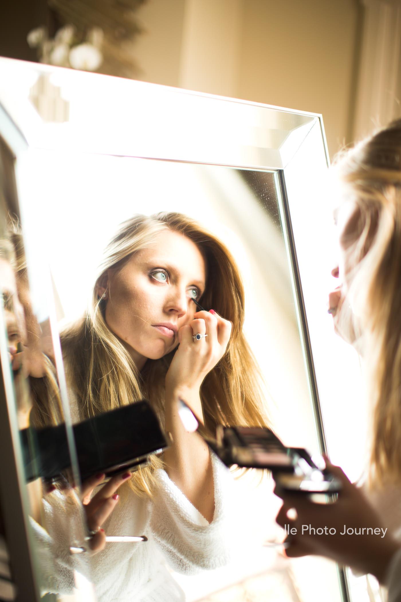 bridal preparation own make up big mirror st pancras renaissance hotel