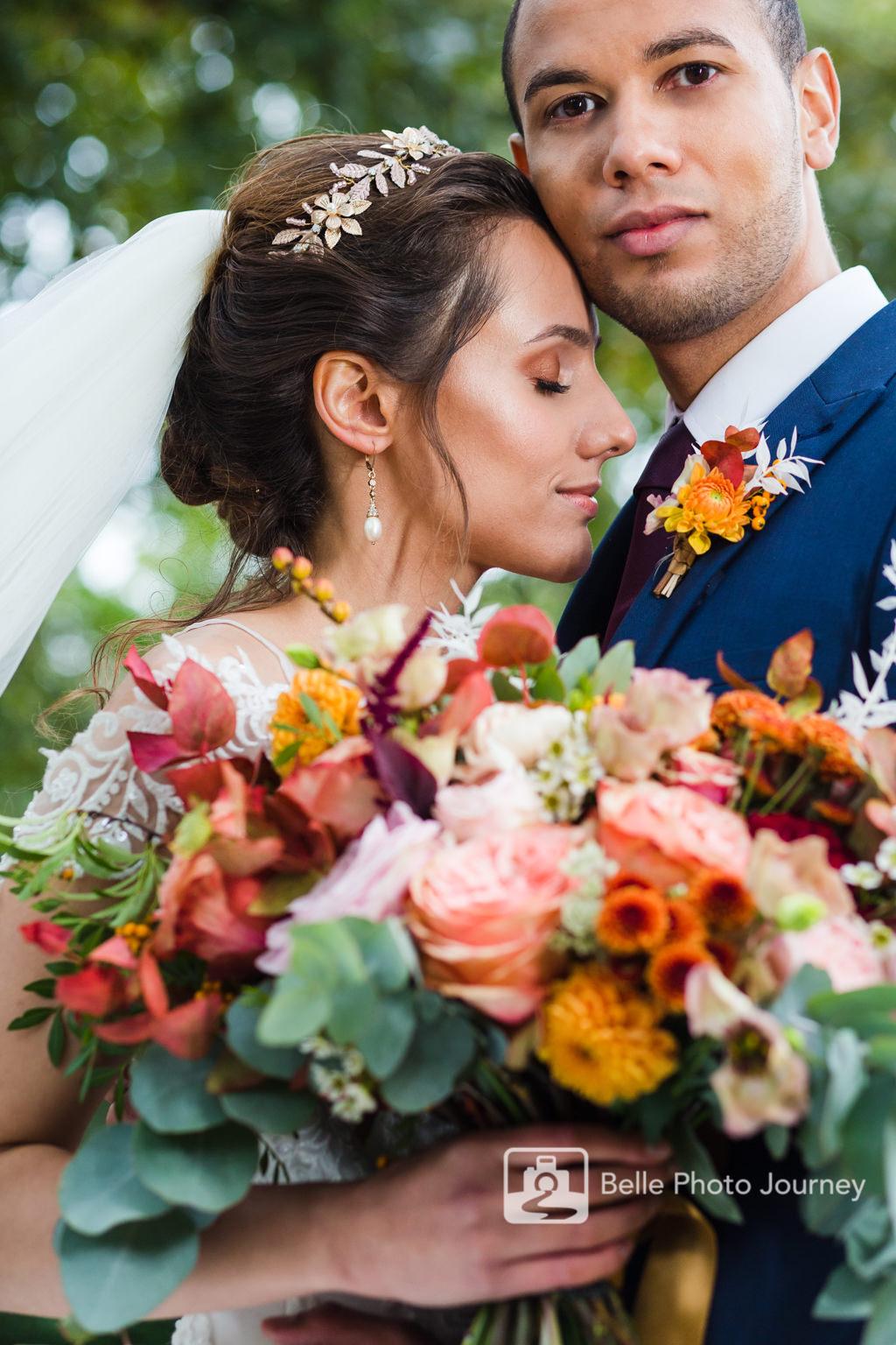 bride and groom close up portrait central london lauderdale house autumn bouquet