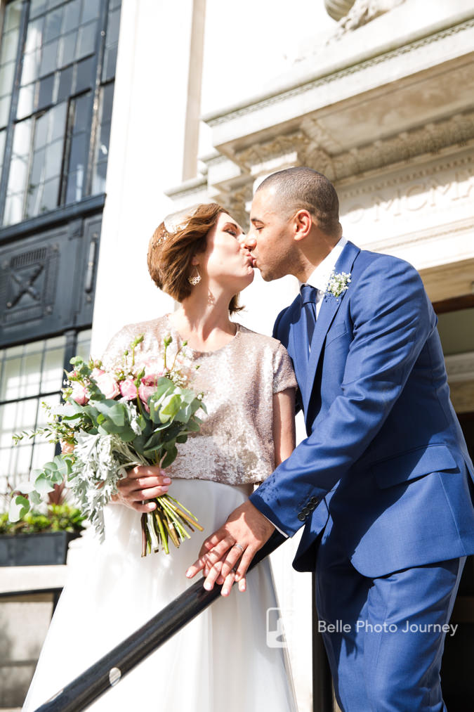 islington town hall registration wedding couple kissing