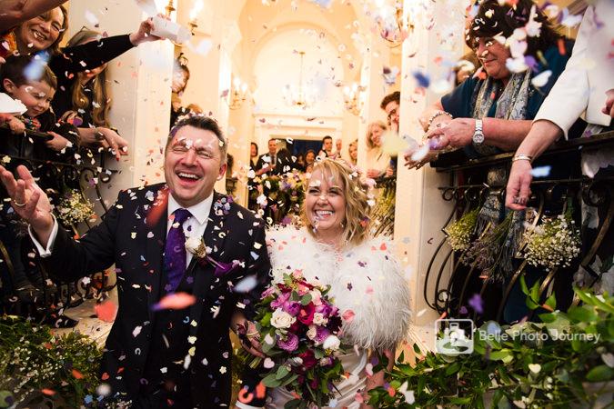 wedding confetti on staircase trafalgar tavern greenwich