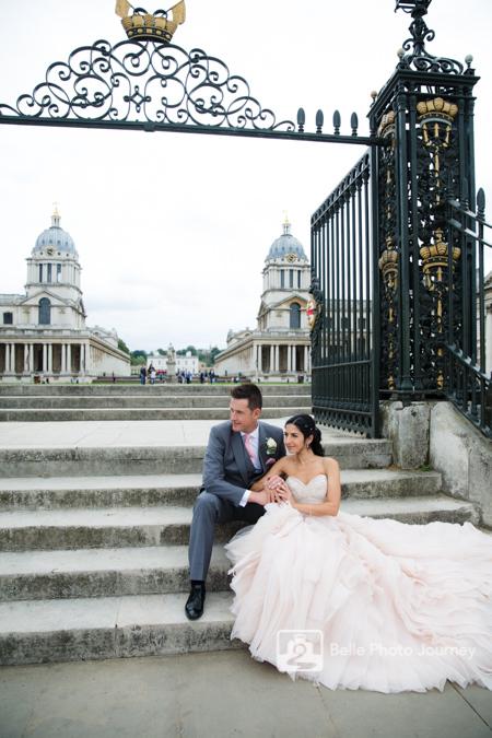 wedding couple portrait stairs royal naval college greenwich trafalgar tavern